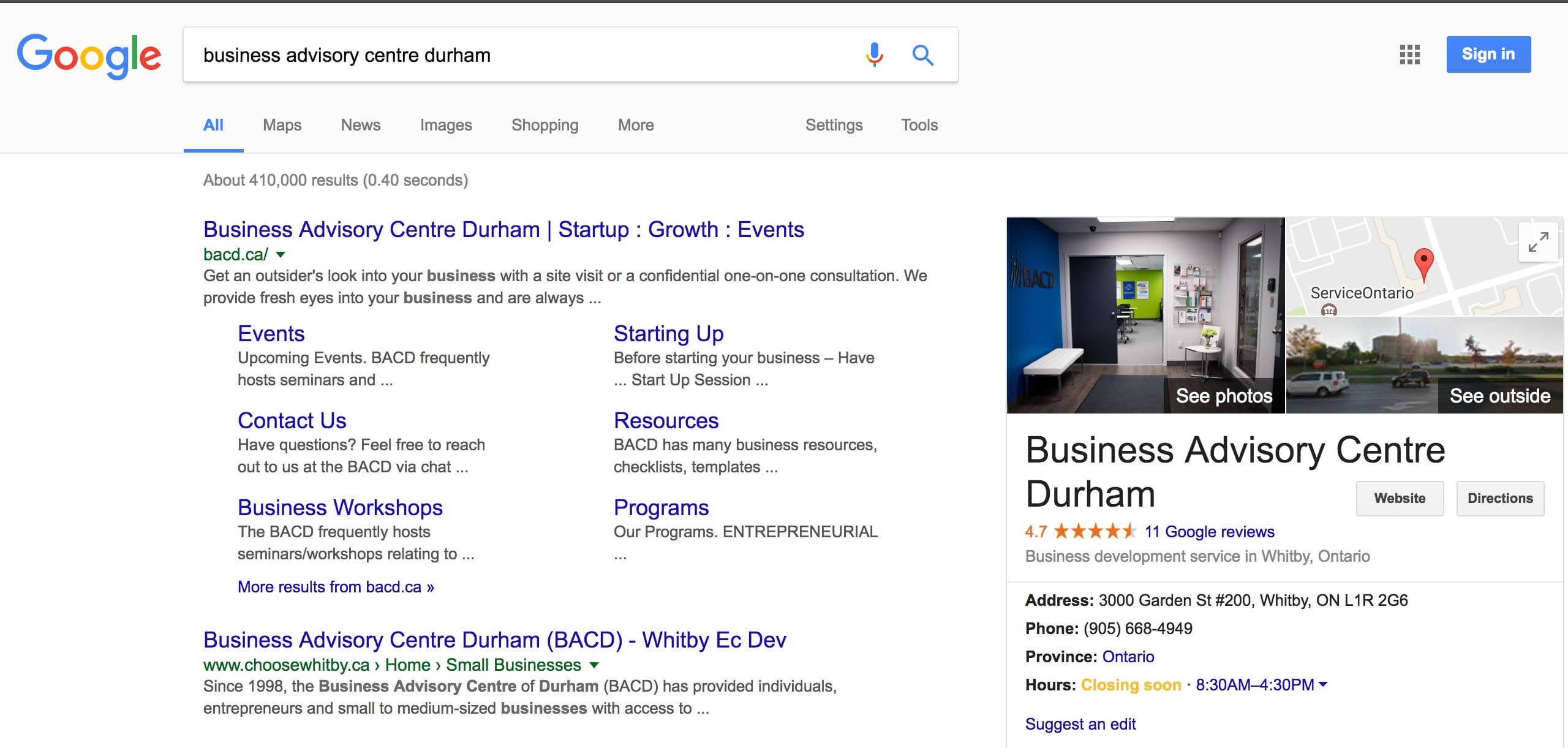 Google My Business Contact Number - The image beside illustrates what will show in the results if your business has been picked up by google or you have optimized google my business