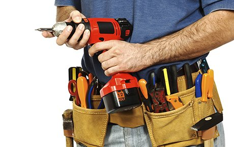 close up on handyman tools on white background