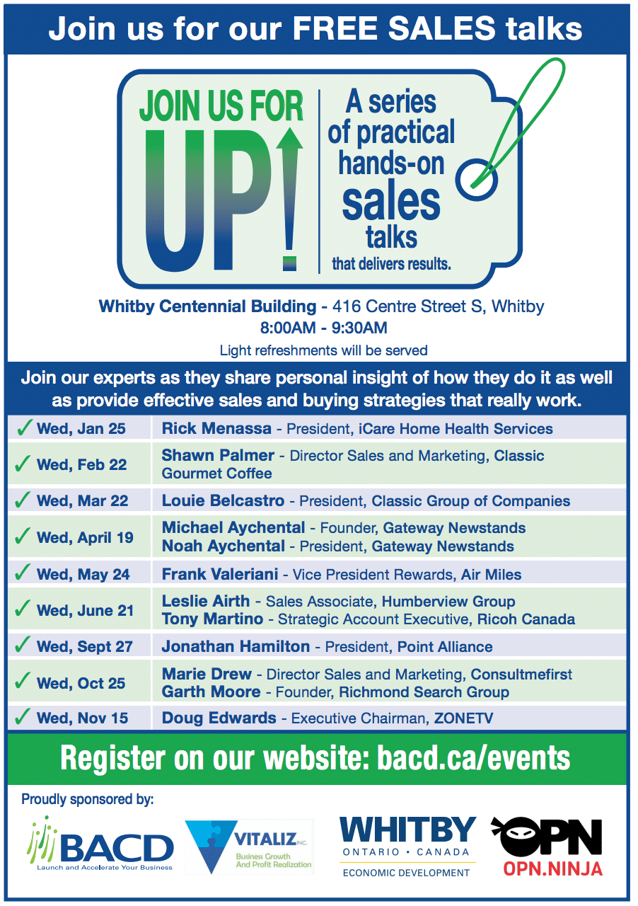 UP Series Sales Talks - revised schedule